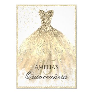 Gold Dress Sparkle 15th Quinceanera Invitation