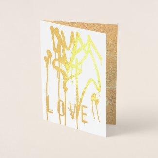 Gold Dripping Paint Heart Graffiti Urban Love Foil Card