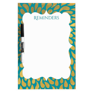 Gold Droplets Abstract Pattern Personalized Dry Erase Board