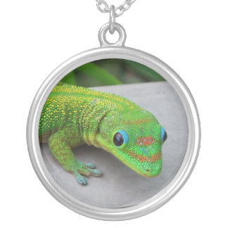 Gold Dust Day Gecko Pendant Necklace