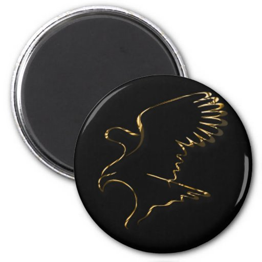 Gold Eagle 2 Inch Round Magnet