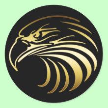Gold Eagle Head Sticker