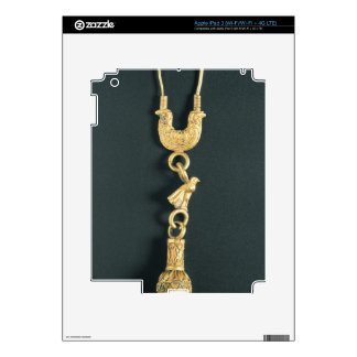 Gold earring with drop-shaped pendant in the form iPad 3 decals