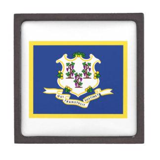 Gold Edge Connecticut Flag Jewelry Box