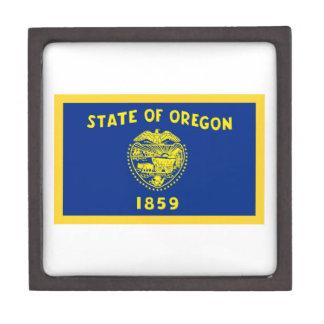 Gold Edge Oregon Flag Jewelry Box