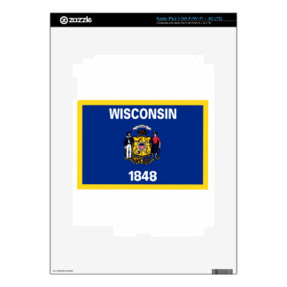 Gold Edge Wisconsin Flag Skins For iPad 3