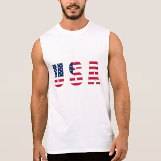 Gold-Edged USA Flag Men's Sleeveless T-Shirt,White Sleeveless Shirt