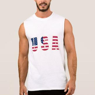 Gold-Edged USA Flag Men's Sleeveless T-Shirt,White Sleeveless Tee