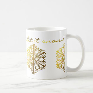 Gold Effect and White Let It Snow Mug