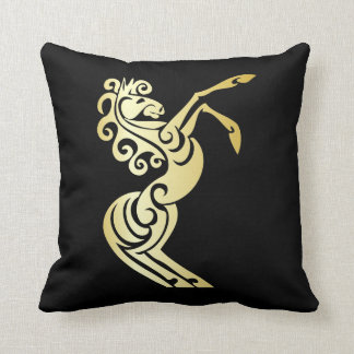 Gold Effect Artistic Horse on Black Throw Pillow