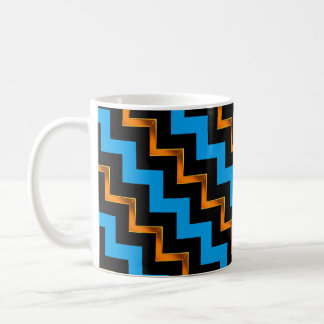 Gold Effect, Black and Blue Diagonal Chevrons Coffee Mug
