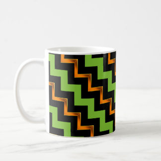 Gold Effect, Black and Green Diagonal Chevrons Coffee Mug