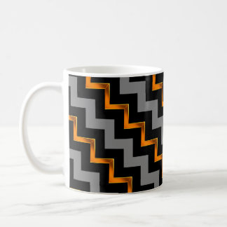 Gold Effect, Black and Grey Diagonal Chevrons Coffee Mug