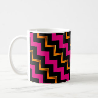 Gold Effect, Black and Pink Diagonal Chevrons Coffee Mug