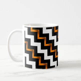 Gold Effect, Black and White Diagonal Chevrons Coffee Mug