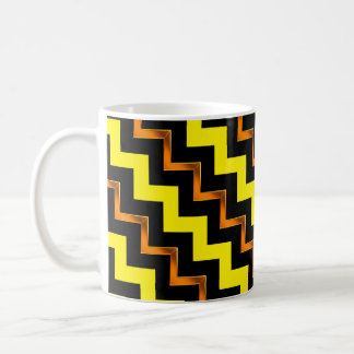 Gold Effect, Black and Yellow Diagonal Chevrons Coffee Mug