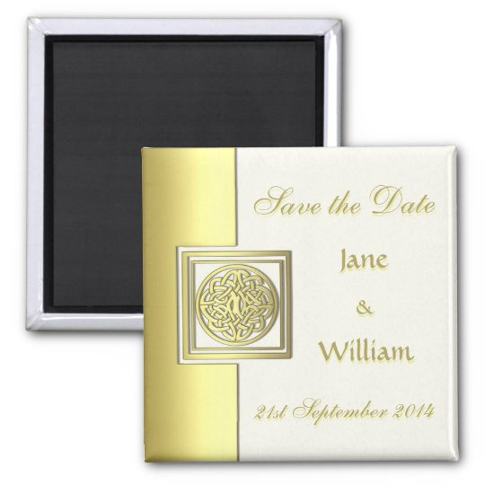 Gold Effect Celtic Knot Save the Date Magnet