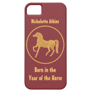 Gold-effect, Deep Red Year of the Horse iPhone SE/5/5s Case