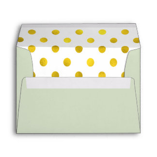 Gold-effect Dots Minty Green Lined Envelope