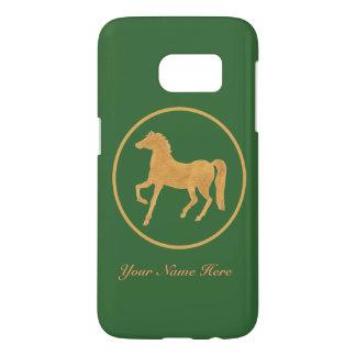 Gold-effect Hand-painted Horse on Dark Green Samsung Galaxy S7 Case