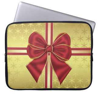 Gold Effect Holiday Package With Bow Laptop Sleeve