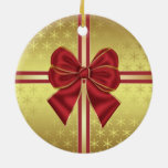 Gold Effect Holiday Package With Bow Ornament
