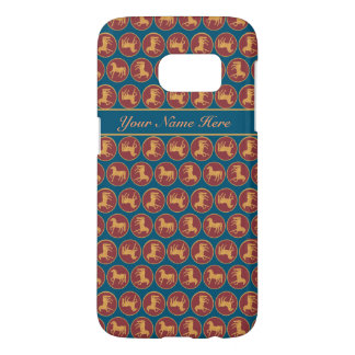Gold-effect Horse on Dark Blue and Red Pattern Samsung Galaxy S7 Case