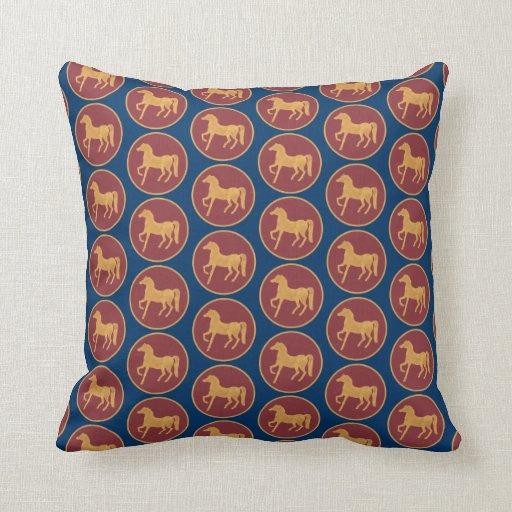 Deep Blue Throw Pillows : Gold-effect Horse on Deep Red, on Dark Blue Throw Pillow Zazzle