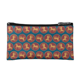 Gold-effect Horses on Deep Red on Blue Background Makeup Bag