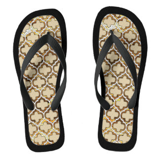 Gold Effect Lattice Black Trim Flip Flops