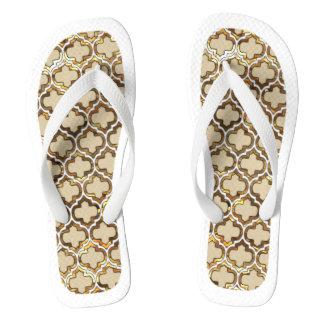 Gold Effect Lattice White Trim Flip Flops