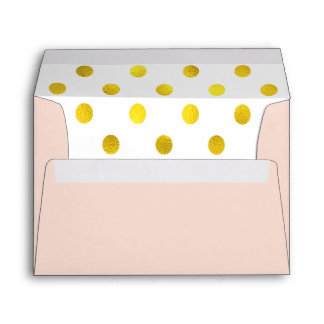 Gold-Effect Polka Dot Lined Pink Envelope