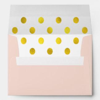 Gold-Effect Polka Dot Lined Pink Envelope