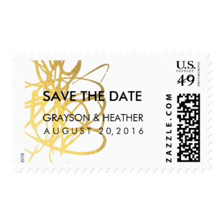 Gold Effect Wedding Save the Date Postage Stamp