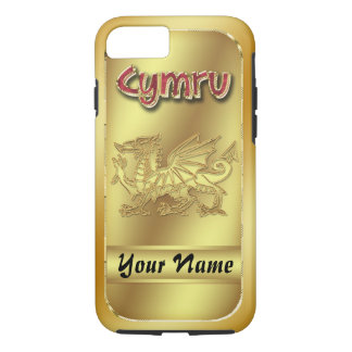 Gold Effect Welsh Cymru And Dragon iPhone 7, Tough iPhone 7 Case
