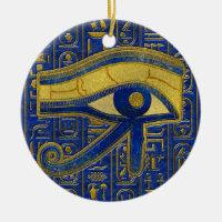 Gold Egyptian Eye of Horus - Wadjet Lapis Lazuli Ceramic Ornament