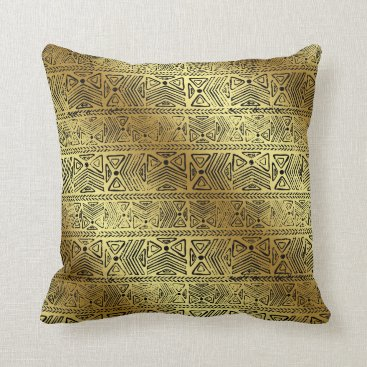 sterlingnights Gold Egyptian hieroglyphics back geometric Throw Pillow