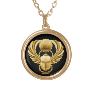 Gold Egyptian Scarab Round Pendant Necklace