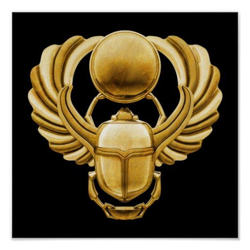 Gold Egyptian Scarab Poster | Zazzle