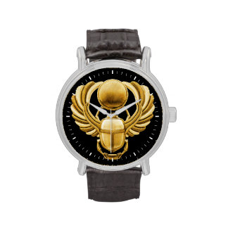 Gold Egyptian Scarab Wrist Watch