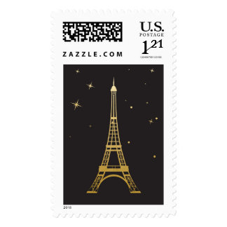 Gold Eiffel Tower at Night Postage