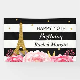 Gold Eiffel Tower Floral Girl Kids Birthday Party Banner