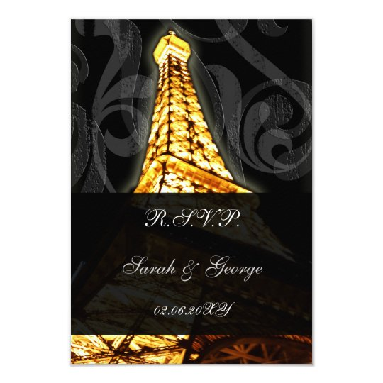 gold Eiffel tower french  rsvp standard 3.5 x 5 Card