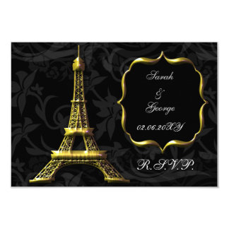 gold Eiffel tower french  rsvp standard 3.5 x 5 3.5x5 Paper Invitation Card