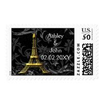Gold Eiffel tower French Wedding Postage