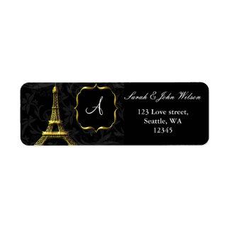 Gold Eiffel tower French Wedding Return Address Label