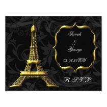 gold Eiffel tower french Wedding rsvp card