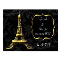 Gold Eiffel tower French Wedding rsvp Postcard