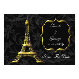 gold Eiffel Tower French wedding Save the Date Card