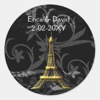 gold Eiffel Tower French wedding Seals